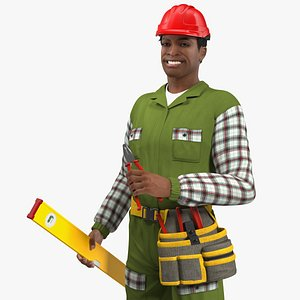 light skinned black builder 3D model