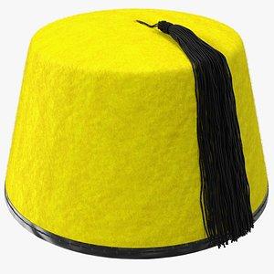 3D model traditional arabic yellow fez