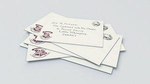 3D Harry Potter - Hogwarts Letter -  Texture included - 3D Asset