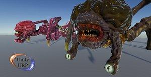3D spider brain monster