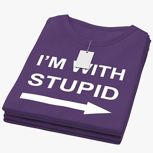 3D Female Crew Neck Folded Stacked With Tag Purple Im With Stupid 02 model
