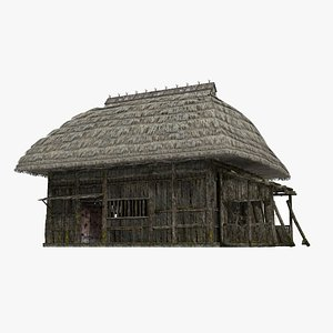 Ancient thatched houses 3D model