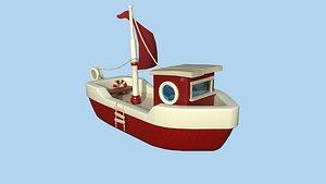 Cartoon Boat 08 Red Beige - Low Poly Ship 3D model