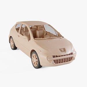 3D 2006 Peugeot 207 model