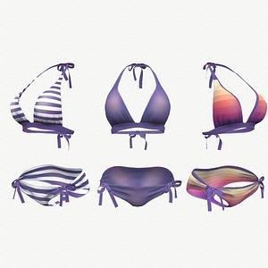 Purple Bikini Swimsuit - 3 colors 3D model