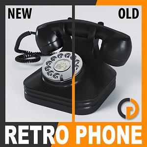 3d model retro style telephone -