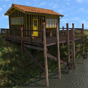 Yellow Fishing Hut 3D model