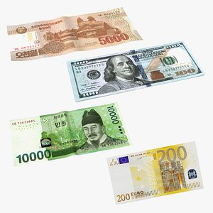 Paper Banknotes Collection 3D model
