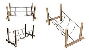 3D Playground Wooden Log Balance Beam model