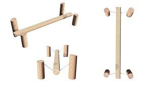 Playground Wooden Log Balance Beam 3D model
