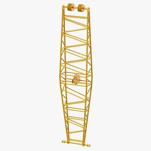 3D crane jib mast yellow