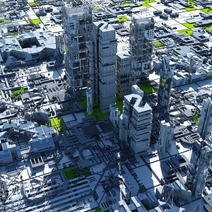 sci-fi cityscape 3D model