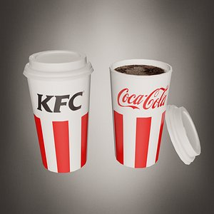 3D Paper cup KFC - 3 objects - Low poly