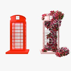 3D model red phone booth