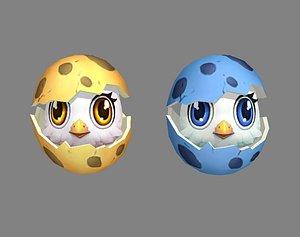 Cartoon new born bird - chicken 3D model