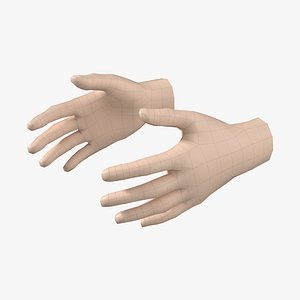 3D Female Hand Base Mesh 08 model