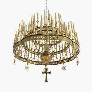 3D Large victorian chandelier