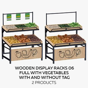 Wooden Display Rack 06 Full with Vegetables - With and Without Tag 3D model