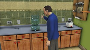 3D Drinking water with male character rigged
