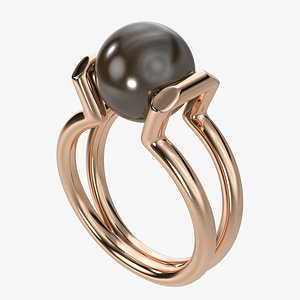 3D Tiffany golden ring with pearl