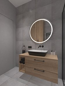 Small shower room with gray tiles model