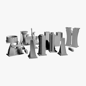 3D Town Houses Miniatures for Board Game model