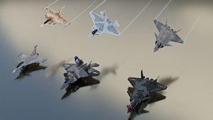 3D Modern fighters lowpoly set C 3 x 2