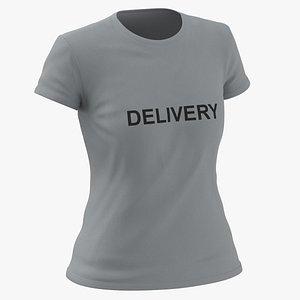 3D Female Crew Neck Worn Gray Delivery 03 model