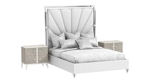 3D Michael Amini LANTERNA Cal King Channel-Tufted Upholstered Bed and nightstand