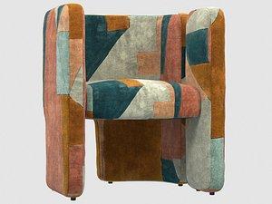3D fairfax chair apricot kelly model