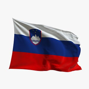 3D Realistic Animated Flag - Microtexture Rigged - Put your own texture - Def Slovenia model