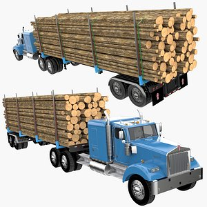 Truck with Logging Trailer 3D model