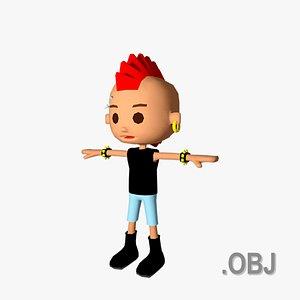 3D Boy White Punk - OBJ - Low Poly Quad model