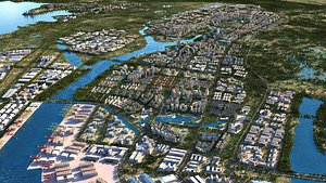 City Port  city and surroundings 3D