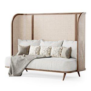3D three-seater garden sofa