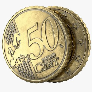 fifty euro cent pbr 3D model