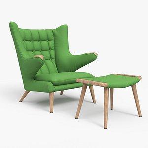 3D Papa Bear Chair And Ottoman Green