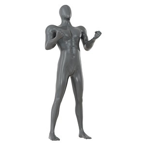3D gray male mannequin stands model