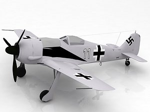 3D Focke Wulf Fw 190 German WWII Fighter Aircraft