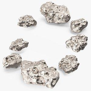 3D Silver Natural Minerals Big Stones model
