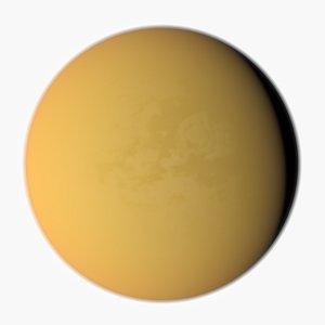 Moon of Saturn Titan 3D