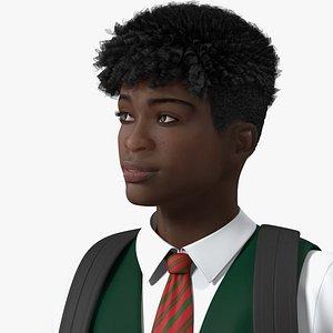 3D Black Teenager Dark Skin School Uniform Rigged for Cinema 4D
