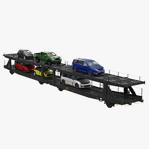 3D Autorack Car Transporter with Cars
