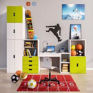set modular furniture rooms 3D model