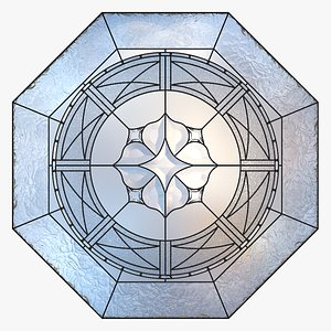 Stained-glass window  octahedron 3 3D