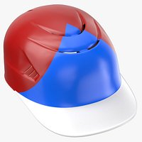 Baseball Catchers Helmet with Padding Red Blue Triangle