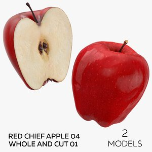 3D Red Chief Apple 04 Whole and Cut 01 - 2 models