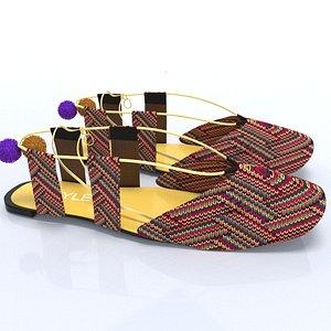 ladies cloth shoes flat 3D model