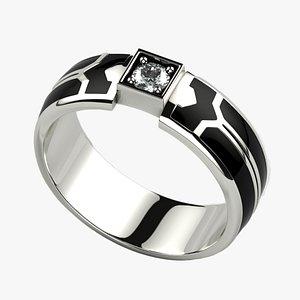 3D Black Enamel Gold Ring