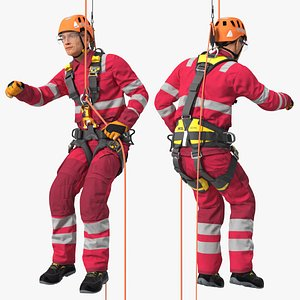 Alpinist Worker Suspended Pose 3D